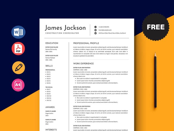 Free Construction Coordinator Resume Template