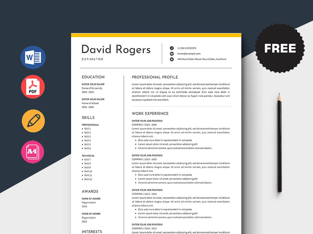 Free Estimator Resume with Clean and Simple Look