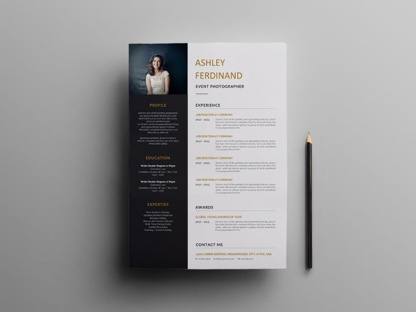 Free Event Photographer Resume Template with Professional Look