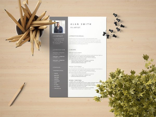Free FX Artist Resume Template with Clean and Professional Look