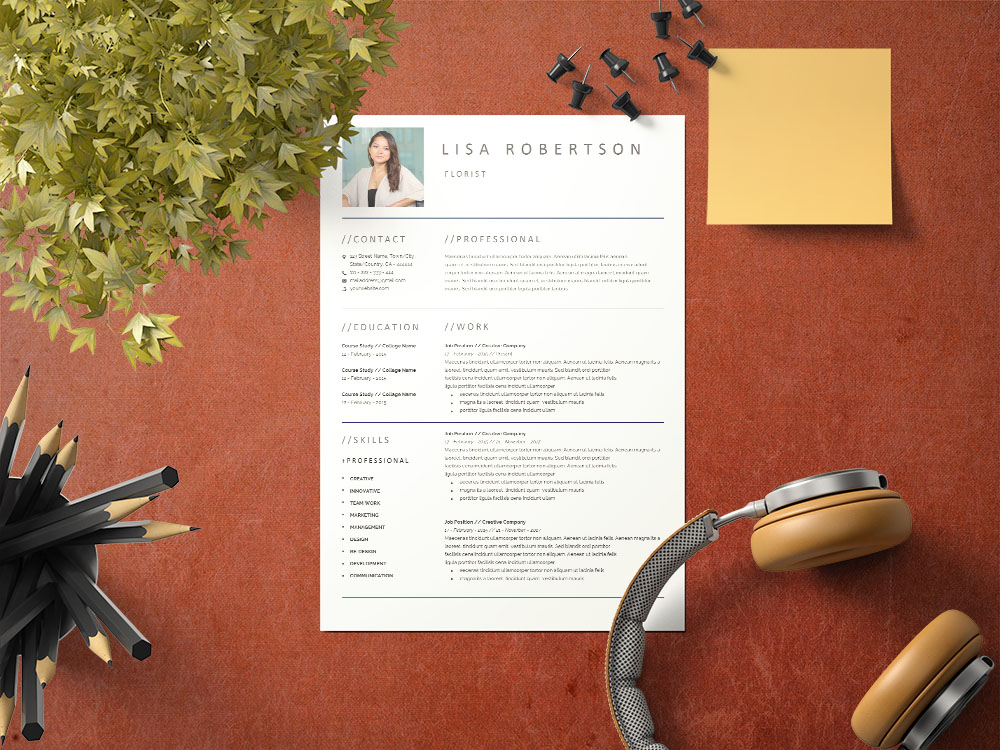 Free Florist CV/Resume Template with Clean and Professional Look