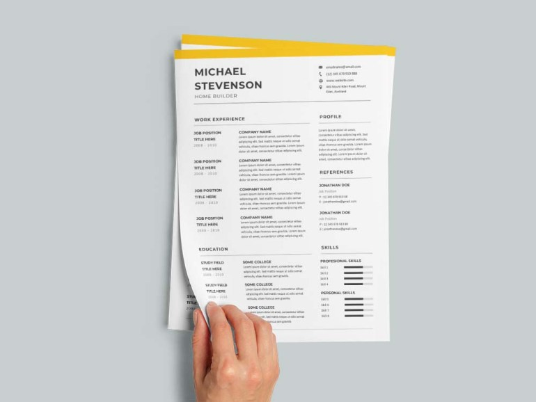Free Home Builder Resume Template with Clean and Simple Look