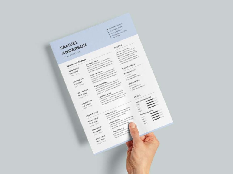 Free Hvac Foreman Resume Template with Clean and Simple Look