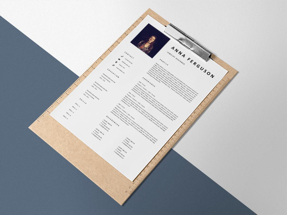 Free Jewelry Designer Resume Template with Clean and Professional Look