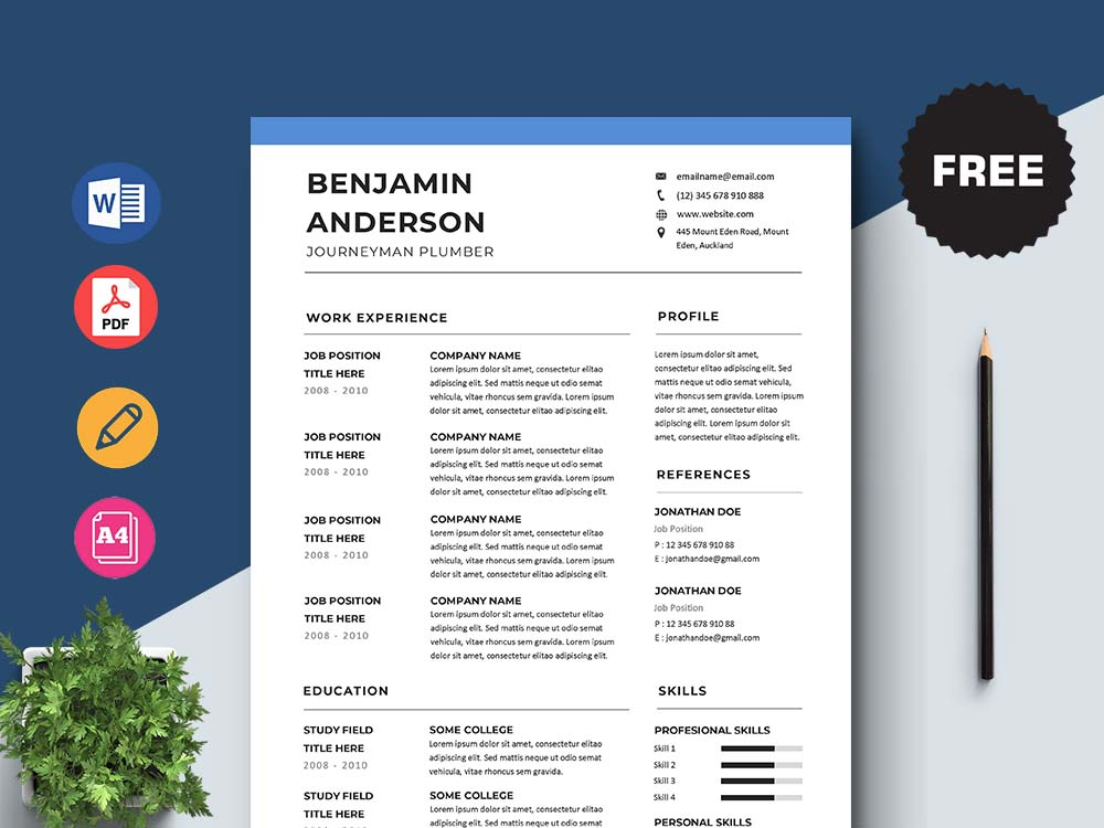 Free Journeyman Plumber Resume Template with Clean and Simple Look