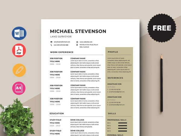 Free Land Surveyor Resume Template with Clean and Simple Look