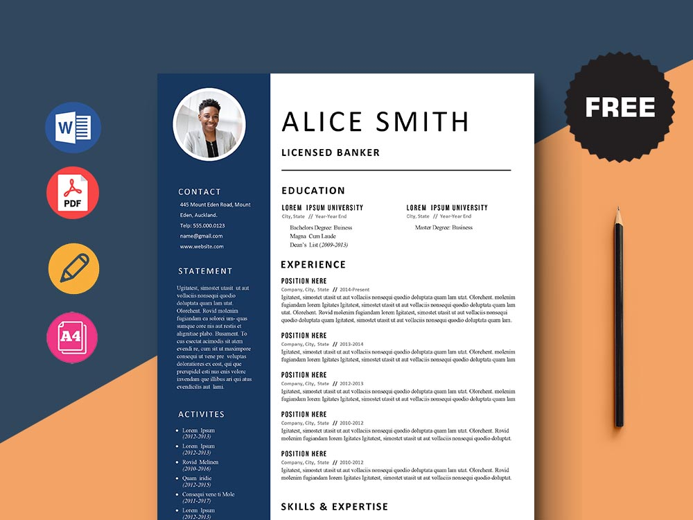 free licensed banker resume template with simple and clean