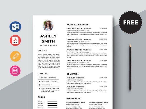 Free Phone Banker Resume Template with Minimal and Elegant Look