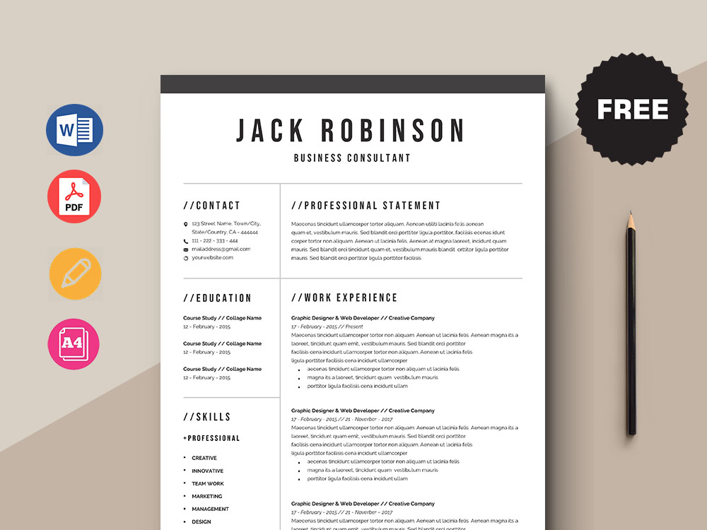 Free Business Consultant Resume Template with Simple and Clean Look