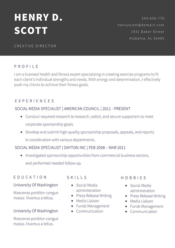 Creative Director CV Template