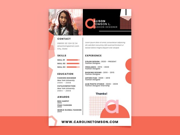 Free Geometric Fashion Resume Template