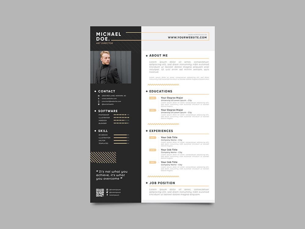 Free Masculine Resume Template