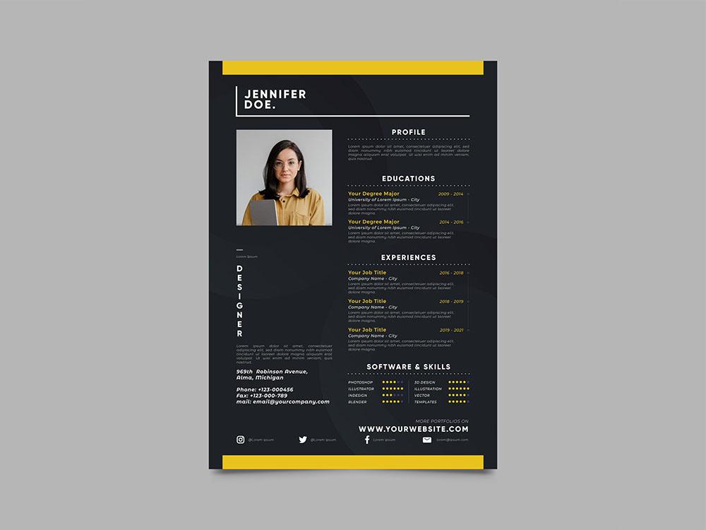 Free Modern Black Resume Template