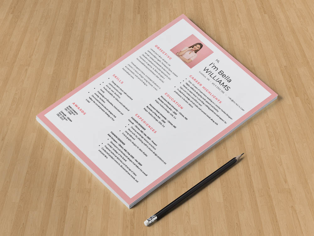 Free Pink Fashion Resume Template