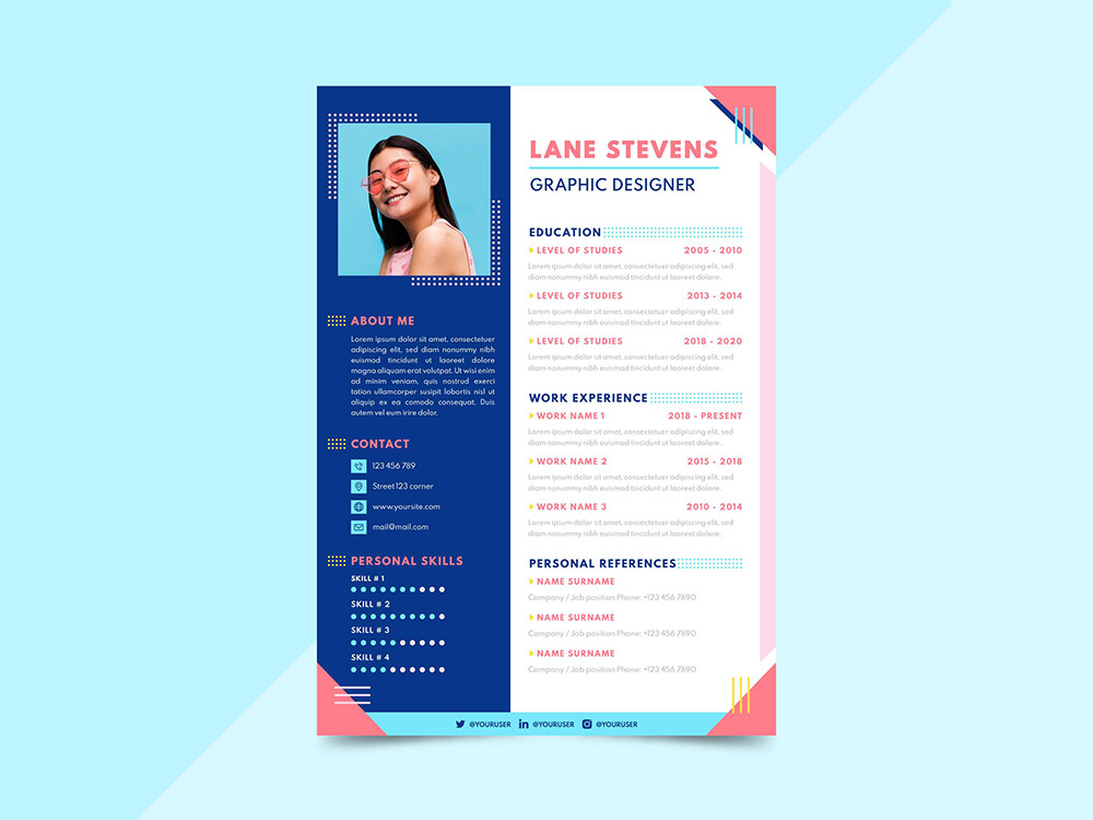 Free Colorful Flat Resume Template