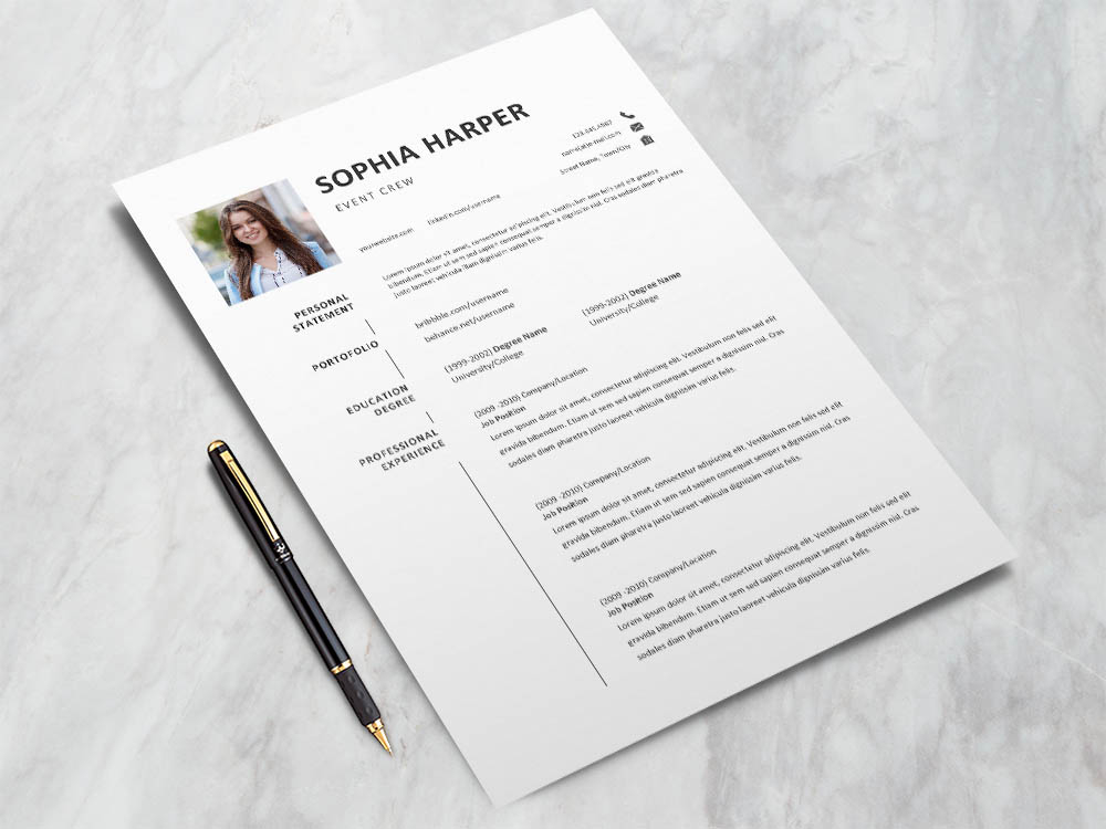 Free Event Crew Resume Template