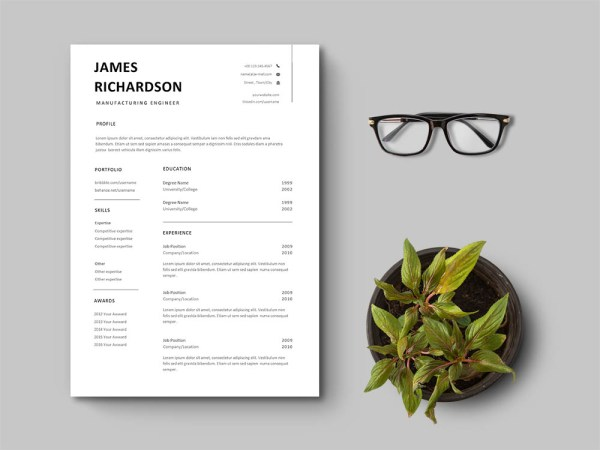 Free Manufacturing Engineer Resume Template