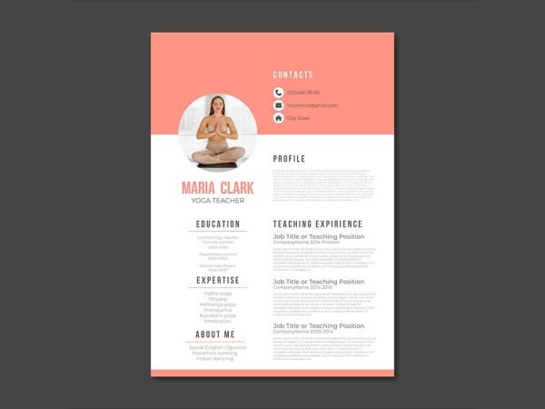 Free Yoga Teacher Resume Template