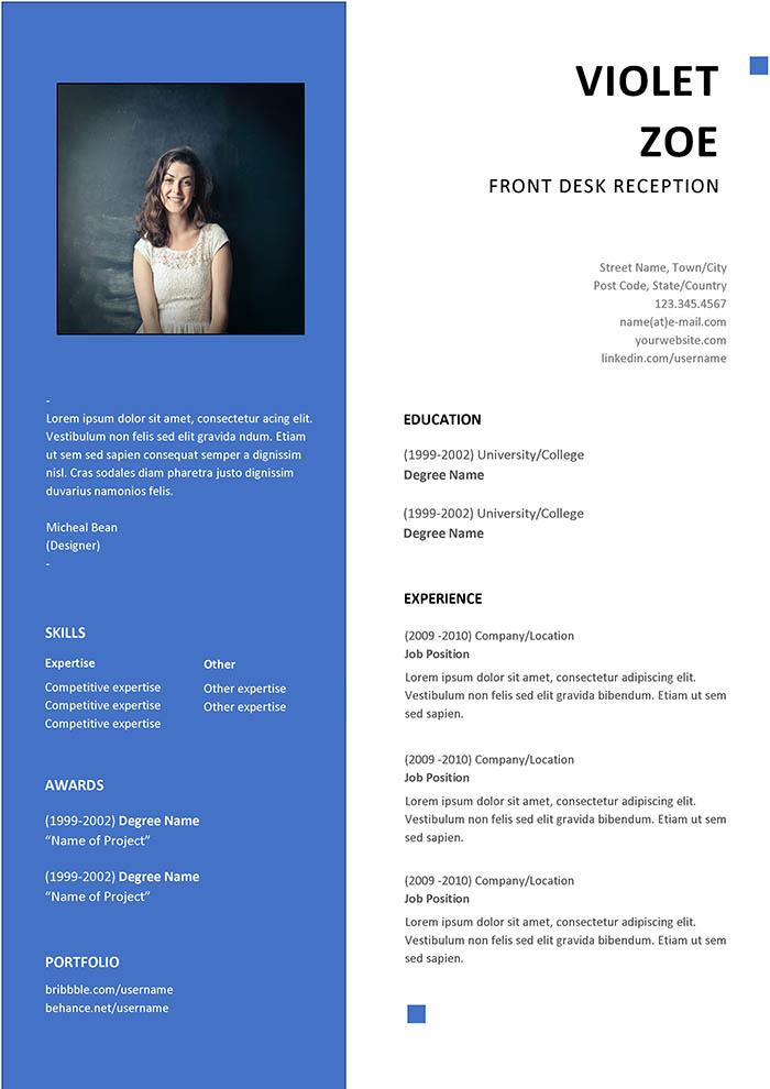 Front Desk Reception Resume