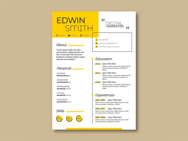 Free Online Marketer Resume Template