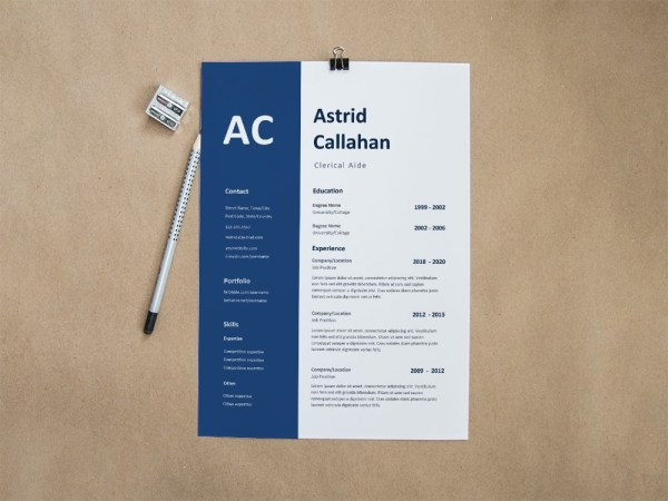 Free Clerical Aide Resume Template