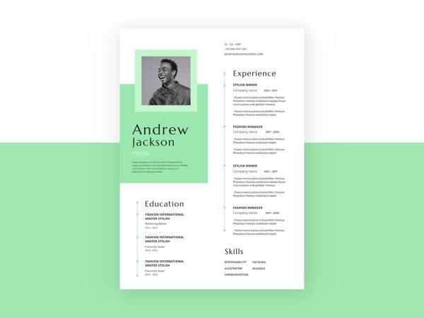 Free Elegant Green CV Resume Template