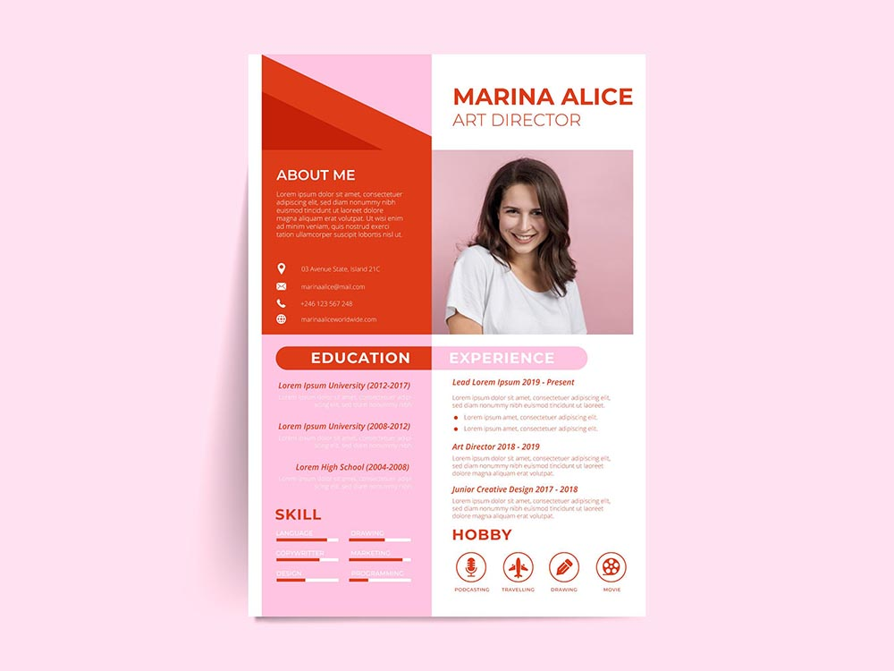 Free Red Pink Resume Template