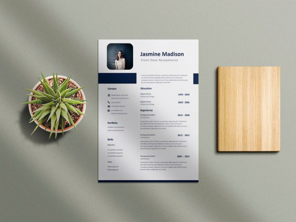 Free front Desk Receptionist Resume Template