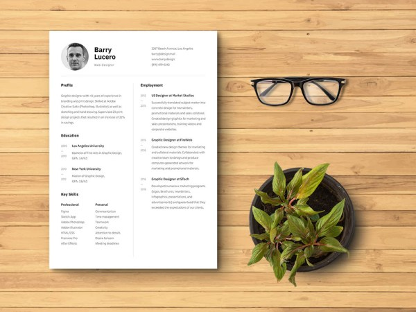 Free Photo Figma Resume Template