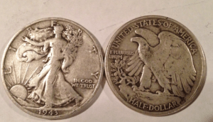 obverse and reverse of a walking liberty half dollar