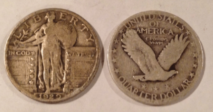 standing liberty quarter obverse and reverse