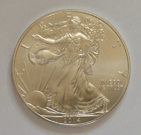 photo of an american silver eagle coin 2014