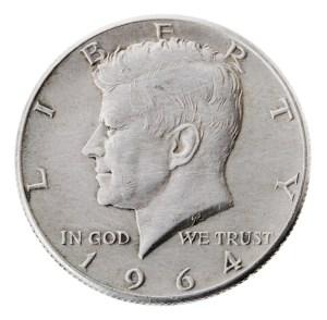 1964 Kennedy Half dollar 90% silver, the last year of mintage