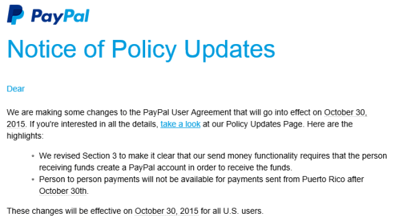 Pay pal notice announcing end of puerto rican service