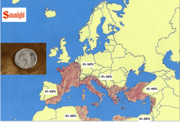 Roman Republic map circa 20 AD and the silver content of the denarius