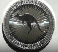 Reverse of a Perth Mint silver kangaroo coin