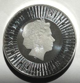 Front of a perth mint australian kangaroo silver coin