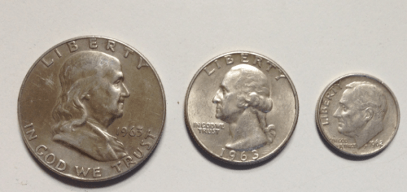1963 silver half dollar quarter and 1962 dime