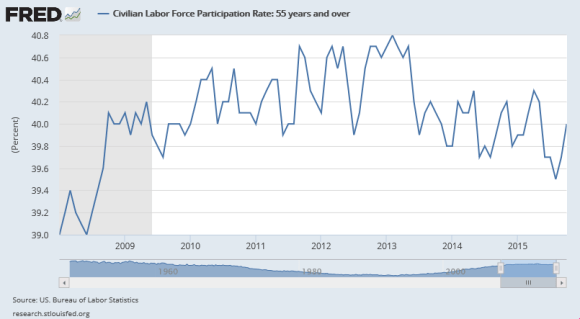 Labor Force Participation Rate 2008-2015 Among Those 55 Years and Older