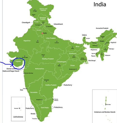 map of india Gujarat