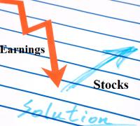 Earnings down stocks up
