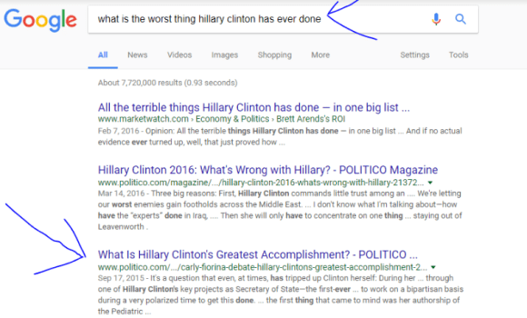 Google search results worse thing Hillary has done