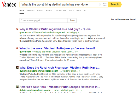 Yandex what is worse thing Vladimir putin has ever done
