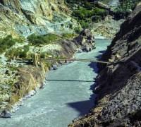 Pakistan rope bridge over the ganges
