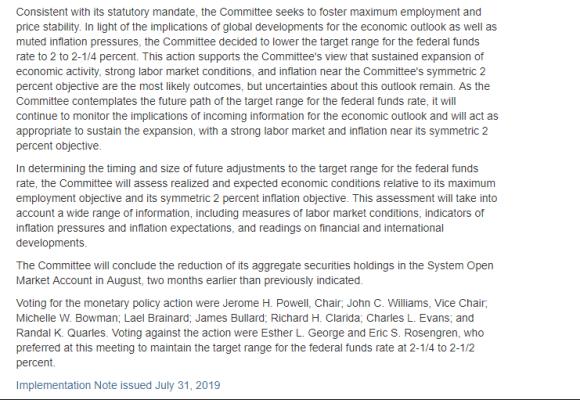 Fed Statement July 31 2019