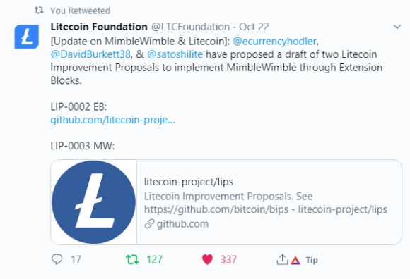 Litecoin foundation on mimble wimble