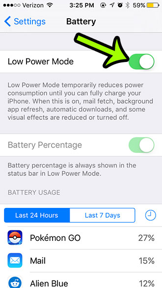 enable low power mode on the iphone 5
