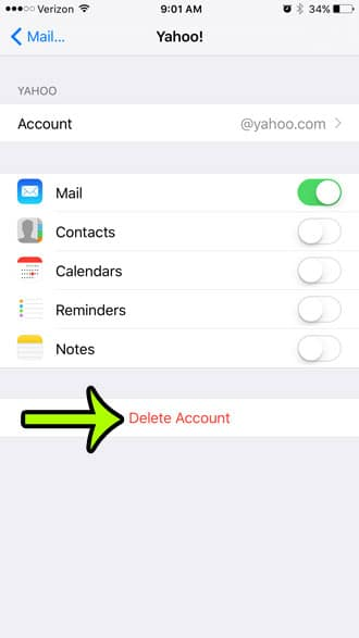 how to delete an email account on an iphone 6