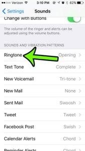 select the ringtone option
