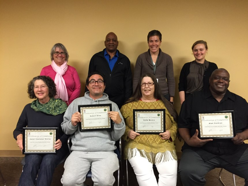 LEA Refresher Course Graduates and Facilitators. Bottom left: Janet Stoller, Robert Ortiz, Kathy Mackin, Alan Cochran. Top left: Cindy Robbins-Roth, Lee Harrison, Katy Davis, and Kim Westrick